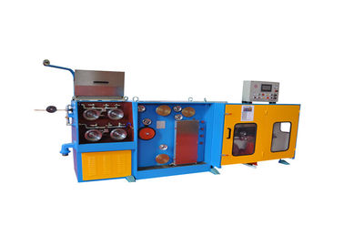 China Automatic Double Spooler Wire Drawing Machine , 11KW+4KW Copper Wire Making Machine supplier
