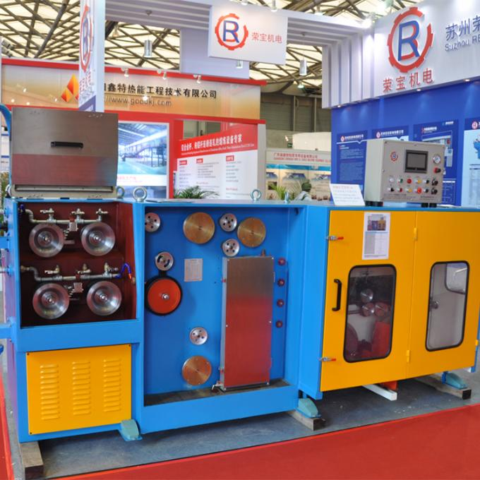 Automatic Double Spooler Wire Drawing Machine , 11KW+4KW Copper Wire Making Machine